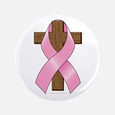 """Pink Ribbon and Cross 3.5"""" Button (100 pack)"""