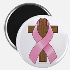 Pink Ribbon and Cross Magnet