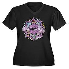 Fibromyalgia Lotus Women's Plus Size V-Neck Dark T