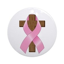 Pink Ribbon and Cross Ornament (Round)