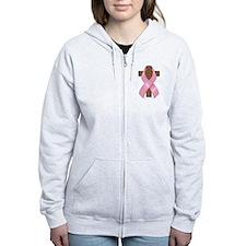 Pink Ribbon and Cross Women's Zip Hoodie