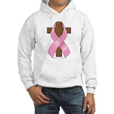 Pink Ribbon and Cross Hooded Sweatshirt