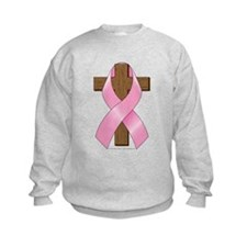 Pink Ribbon and Cross Kids Sweatshirt