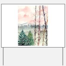 birch trees landscape art pri Yard Sign