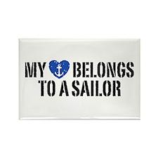 My Heart Belongs To A Sailor Rectangle Magnet