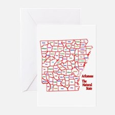 AR County Map Greeting Cards (Pk of 20)