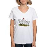 Orpington White Chickens Women's V-Neck T-Shirt