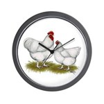Orpington White Chickens Wall Clock