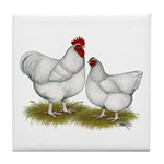 Orpington White Chickens Tile Coaster