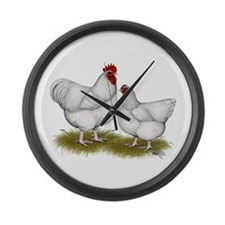 Orpington White Chickens Large Wall Clock