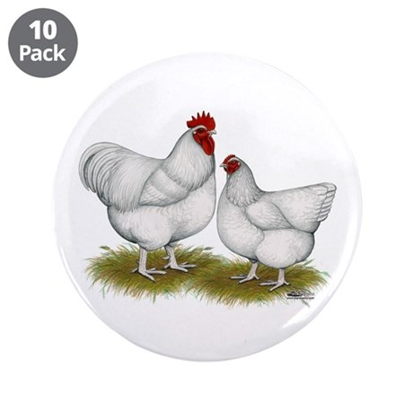 """Orpington White Chickens 3.5"""" Button (10 pack"""