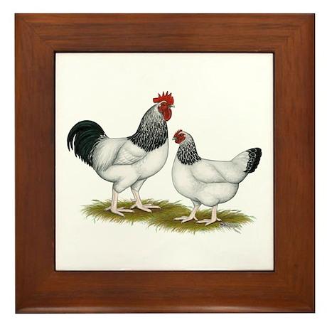 Sussex Light Chickens Framed Tile