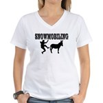 Snowmobiling Kicks Donkey Women's V-Neck T-Shirt