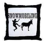 Snowmobiling Kicks Donkey Throw Pillow
