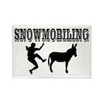 Snowmobiling Kicks Donkey Rectangle Magnet