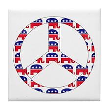 Republican Peace Sign Tile Coaster