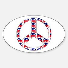 Republican Peace Sign Sticker (Oval)