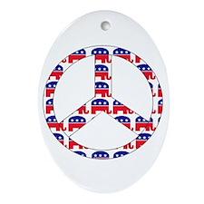 Republican Peace Sign Ornament (Oval)