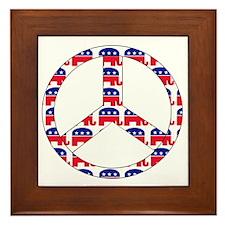 Republican Peace Sign Framed Tile