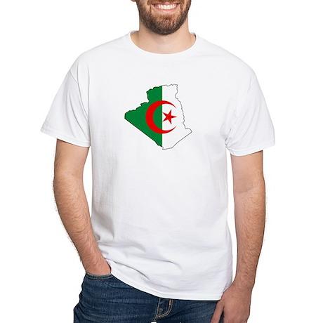 Algeria Flag Map White T-Shirt