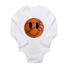 Basketball Smiley Long Sleeve Infant Bodysuit