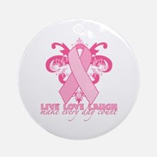 Everyday Pink Ribbon Ornament (Round)
