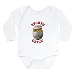 Softball Chick 3 Long Sleeve Infant Bodysuit