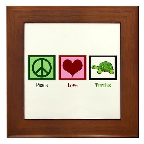 Peace Love Turtles Framed Tile