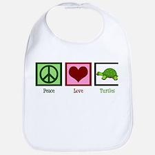 Peace Love Turtles Bib