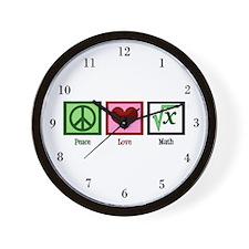 Peace Love Math Wall Clock