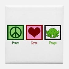 Peace Love Frogs Tile Coaster