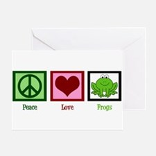 Peace Love Frogs Greeting Card