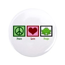 "Peace Love Frogs 3.5"" Button"