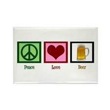 Peace Love Beer Rectangle Magnet