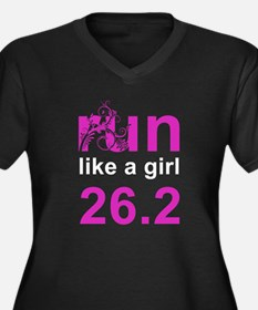 run like a girl 26.2 Women's Plus Size V-Neck Dark
