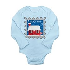 North Pole Stamp Long Sleeve Infant Bodysuit