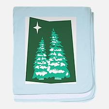 Green Snowy Pines Infant Blanket