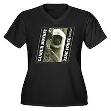Langur Monkey Women's Plus Size V-Neck Dark T-Shir
