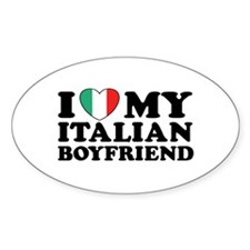 I Love My Italian Boyfriend Oval Decal