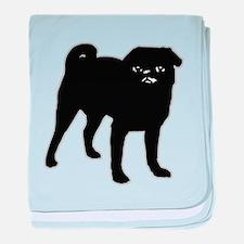 Black Pug baby blanket