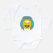 Blue Hair Emo Girl Smiley Long Sleeve Infant Bodys