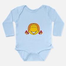 Cute Girl Smiley Face Long Sleeve Infant Bodysuit