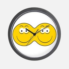 Siamese Twins Smiley Faces Wall Clock
