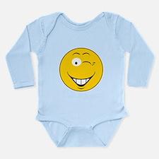 Flirting Winking Smiley Face Long Sleeve Infant Bo