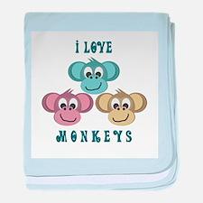 I love Monkeys Retro Style Infant Blanket