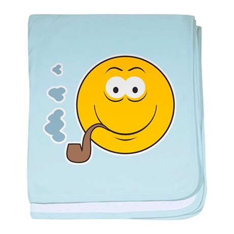 Pipe Smoking Smiley Face Infant Blanket