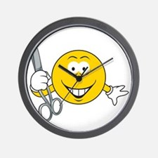 Smiley Face With Scissors Wall Clock