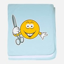 Smiley Face With Scissors Infant Blanket