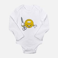 Smiley Face With Scissors Long Sleeve Infant Bodys
