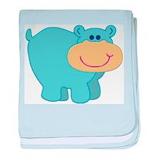 Light Blue Hippo Infant Blanket